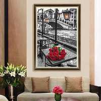 40x60cm 5D DIY Red Rose Diamond Painting Resin Full Rhinestone Home Decoration Cross Stitch Kit