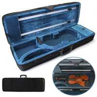 4/4 Full Size Oblong Shape Black Violin Carry Box Hard Case with Cushioning Adjustable Strap Parts