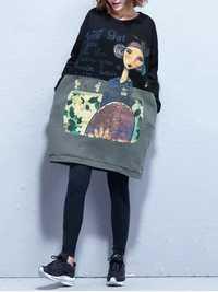 Plus Size Casual Women Cartoon Splicing Thick Sweatshirts