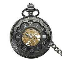 DEFFRUN Antique Steampunk Hollow Mechanical Pocket Watch