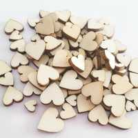 100 Pcs Mix 6/8/10/12mm Wooden Heart Shape Sewing Buttons DIY Decorative Handcraft Wood Slice
