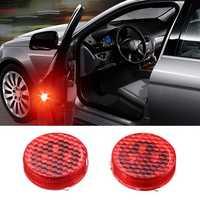 Universal Wireless LED Car Door Opening Warning Light Safety Flash Signal Lamp Anti-collision Red 2PCS