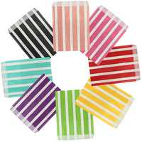 25pcs Biodegrable Retro Stripe Candy Sweet Gift Bag Wedding Party Paper Food Bag