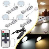 4pcs 12V LED Recessed Down Cabinet Light RV Ceiling Roof Camper Trailer Boat Lamp