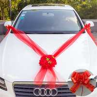 Wedding Car Flower 5M Ribbons Plate 10 Bows Door Handle Rearview Set Decorations
