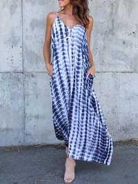 S-5XL Sexy Women Sleeveless Printed Dress