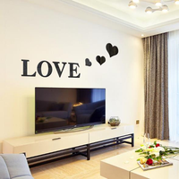 3D Multi-color Love Silver DIY Shape Mirror Wall Stickers Home Wall Bedroom Office Decor
