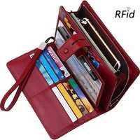 Brenice Women Cowhide 19 Card Slots Vintage Hasp RFID Clutch Bag Long Purse