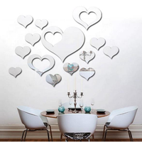 3D Heart Silver DIY Shape Mirror Wall Stickers Home Wall Bedroom Background Office Decor