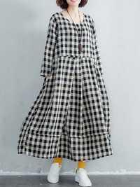 Women Cotton Plaid Long Maxi Shirt Dress