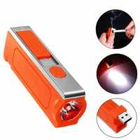 3W Orange USB Rechargeable Windproof Cigarette Lighter LED Emergency Camping Light Flashlight