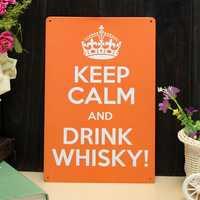 Drink Whisky Sheet Metal Drawing Metal Painting Tin Pub Wall Tavern Poster Sign