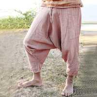 Men's Casual 100% Cotton Loose Drawstring Crotch Pants