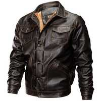 Fleece Warm Thick Winter Faux Leather PU Motorcycle Jacket