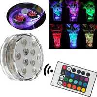 Waterproof 10 LED RGB Remote Control Night Light Submersible Christmas Party Vase Base Light