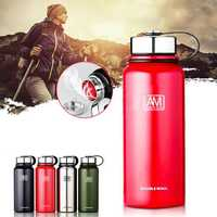 1500ml Outdoor Portable Vacuum Insulated Water Bottle Double Walled Stainless Steel Drinking Cup Sports Travel
