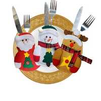 Christmas Tableware Knife Fork Holders Santa Clothes Style Fork Bags Cover Suit Christmas Festival