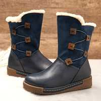 LOSTISY Women's Winter Warm Buckle Zipper Snow Boots