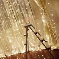 3x3M 300LED Window Curtain Icicle String Fairy Light Outdoor Wedding Party Decor EU Plug AC220V
