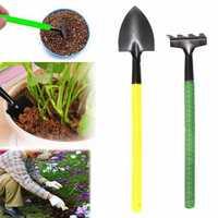 2pcs Mini Portable Metal Shovel Rake Hand Tool Kit Gardening Plastic Handle Planting Tools
