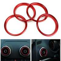 4pcs Air Conditioner Outlet Decorative Rings Bright Circle Red For Audi A3