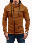 Promotion Men's Casual Zipper Decoration Fashion Pockets Drawstring Long Sleeve Hooded Sweatshirt