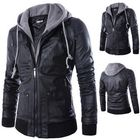 Recommandé Mens Fashion Faux Leather Fake Two Black Motorcycle Jacket