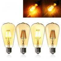 E27 ST64 8W Golden Cover Dimmable Edison Retro Vintage Filament COB LED Bulb Light Lamp AC110/220V