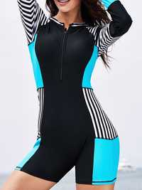 Zipper Front Closure Long-Sleeved Sun Protection Swimwear