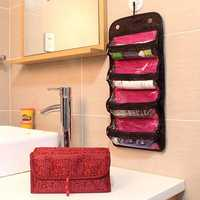 Honana HN-TB30 Foldable Travel Toiletry Organizer Roll Up Hanging Cosmetics Jewelry Storage Bag
