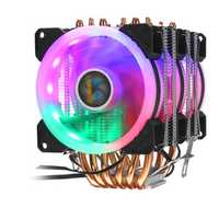 3Pin 3 Fans 6 Heatpipes Colorful Backlit CPU Cooling Fan Cooler Heatsink for Intel AMD