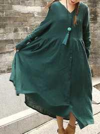 Mori Girl Women Loose Solid Pleated Button Maxi Dress