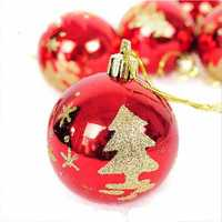 6pcs Christmas Tree Hanging Red Glitter Baubles Ball Christmas Xmas Tree Decoration