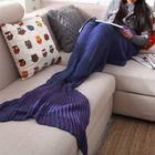 Acheter au meilleur prix Yarn Knitted Mermaid Tail Blanket Handmade Crochet Throw Super Soft Sofa Bed Mat Sleeping Bag