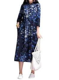 Vintage Women Ethnic style Chinese Frog Printed Long Sleeve Dress
