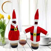 Xmas Santa Claus Red Wine Bottle Cover Wrap Christmas Party Table Dinner Decor Cover Bags Home Party