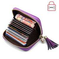 Women Genuine Leather RFID Quilted Card Holder Girls Tassel Zipper Short Wallet Coin Bags