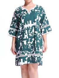 Women Casual Geometric Printed Patchwork Zipper Mini Linen Dress