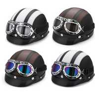 Motorcycle Scooter Half Helmet Hat Open Face Shield Visor With Sun UV Goggles For Harley