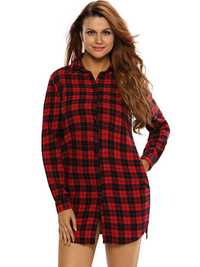 Sexy Women Plaid Button Long Sleeve Turn-down Collar Mini Shirt Dress
