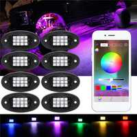 8Pcs RGB LED Under Body Lights Rock Lamp bluetooth Wireless Control for Offroad Truck Boat DC 12V
