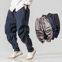 Cotton Linen Ethnic Style Loose Elastic Waist Harem Pants