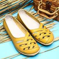 Hollow Out Leather Loafers Moccasin Casual Flat Shoes