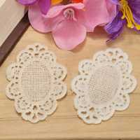 55x35mm White Flower Polyester Embroidery Lace Trim DIY Sewing Needlework Accessories