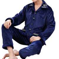 Winter Casual Home Suits Soft Comfortable Flannel Printing Thick Warm Pajamas Sets for Men