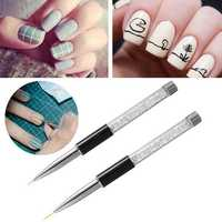 Acrylic Rhinestone Nail Art Liner Pen Brush UV Gel Handle Drawing Painting DIY Design Manicure Tool