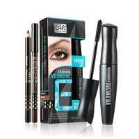 MENOW Mascara Eyelash Makeup Set Volume long Thickening Black Brown Eye Liner Pencil Pen