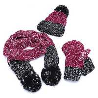 Women Girls Christmas Knit Snow Hat Glove Scarf Three Pieces