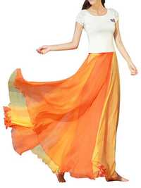 Bohemian Chiffon Contrast Color Patchwork Pleated Maxi Skirt