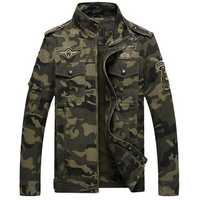 Mens Camo Printing Military Cotton Outdoor Epaulet Jacket